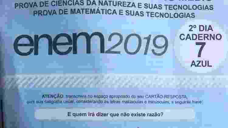 Frase da música Eduardo e Mônica apareceu na capa da prova azul do segundo dia do Enem - Marina Lang/UOL
