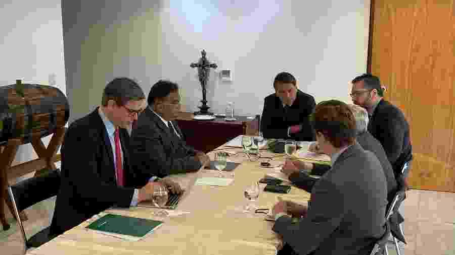 O presidente Jair Bolsonaro durante reunião com o presidente russo Vladimir Putin, de Brasília - Divulgação