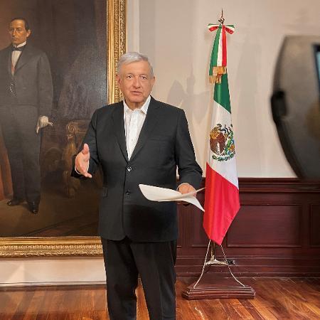 Presidente mexicano, Andrés Manuel López Obrador, no Palácio Nacional na Cidade do México -