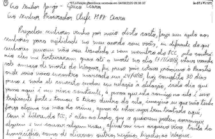 Carta escrita por Felipe Ramos Morais; piloto se disse inocente e se dispôs a fazer delação premiada - Reprodução/STJ - Reprodução/STJ