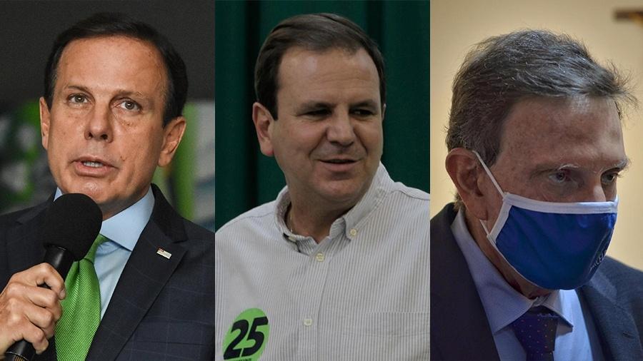 João Doria (PSDB), Eduardo Paes (DEM) e Marcelo Crivella (Republicanos) - Arte/UOL