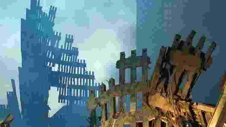 Local onde ficavam as torres do World Trade Center ficou devastado - GETTY IMAGES - GETTY IMAGES