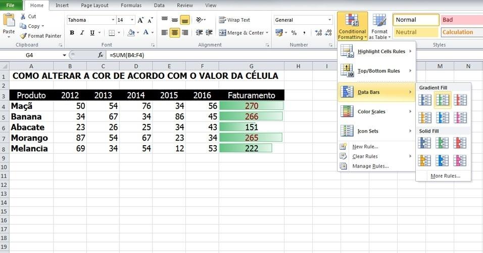 """As opções de formação podem ser acumuladas. Neste caso, adicionamos """"Data Bars"""" (Barras de Dados) para representar o valor da célula"""