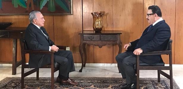 O presidente Michel Temer concedeu entrevista para o apresentador do SBT Ratinho