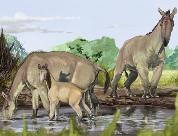 Retratado em reprodução artística, a macrauquênia é parente dos atuais cavalos