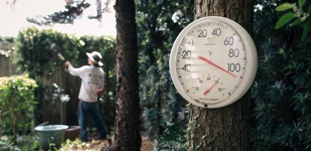 24.jul.2017 - Termômetro marca 43°C (110º Farenheit) em jardim em Galveston, no Texas, onde trabalhadores sofrem com as altas temperaturas