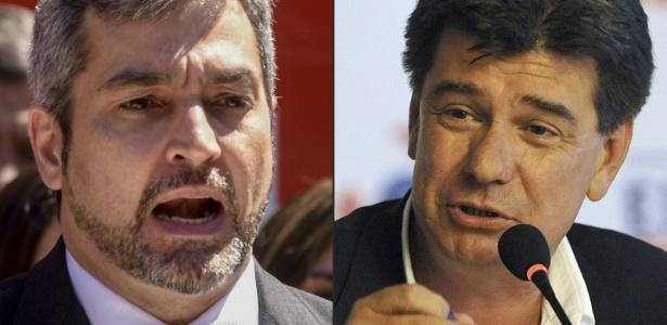 Candidatos à presidência do Paraguai: com o candidato Mario Abdo Benítez, do governista Partido Colorado, e o candidato liberal Efraín Alegre - NORBERTO DUARTE/AFP PHOTO