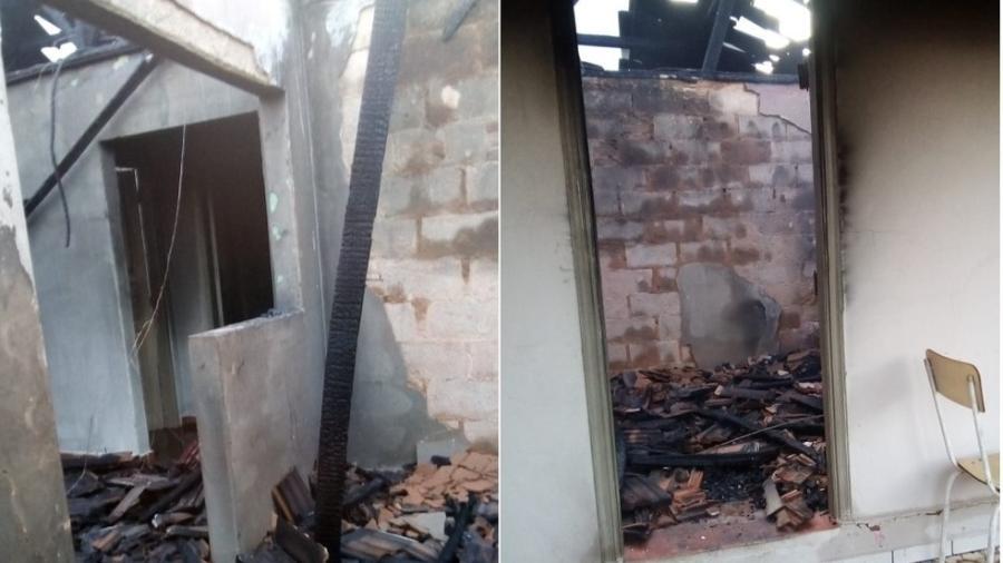 Casa é incendiada após ataque - Divulgação