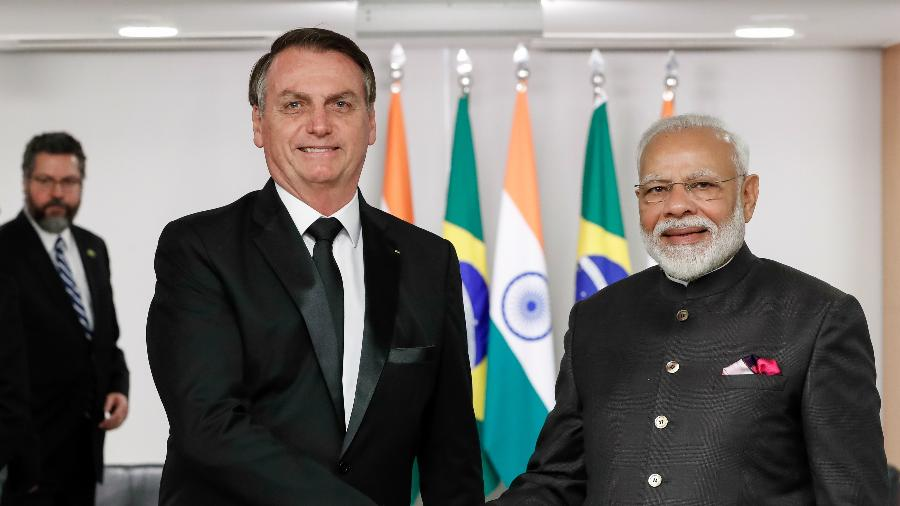 Jair Bolsonaro recebe o primeiro-ministro da Índia, Narendra Modi, para reunião no Palácio do Planalto - Alan Santos/PR