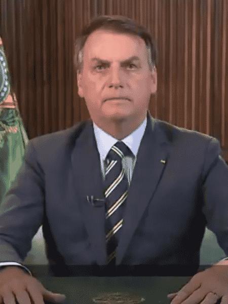 O presidente Jair Bolsonaro (sem partido) durante pronunciamento em rede nacional - Reprodução/Twitter