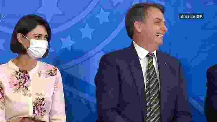 Michelle Bolsonaro usa máscara durante evento no Palácio do Planalto - TV Brasil/Reprodução