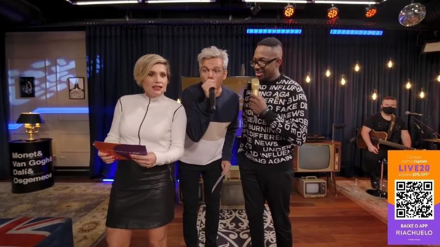 Flavia Alessandra, Otaviano Costa e Mumuzinho em live da Riachuelo - Reprodução