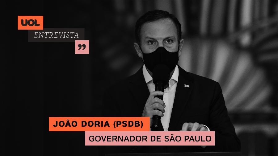 João Doria participa do UOL Entrevista (02.02.21) - Arte/UOL