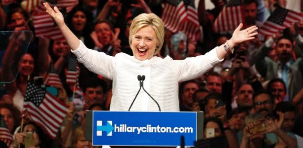 Hillary comemora vitória nas prévias que selou sua candidatura presidencial