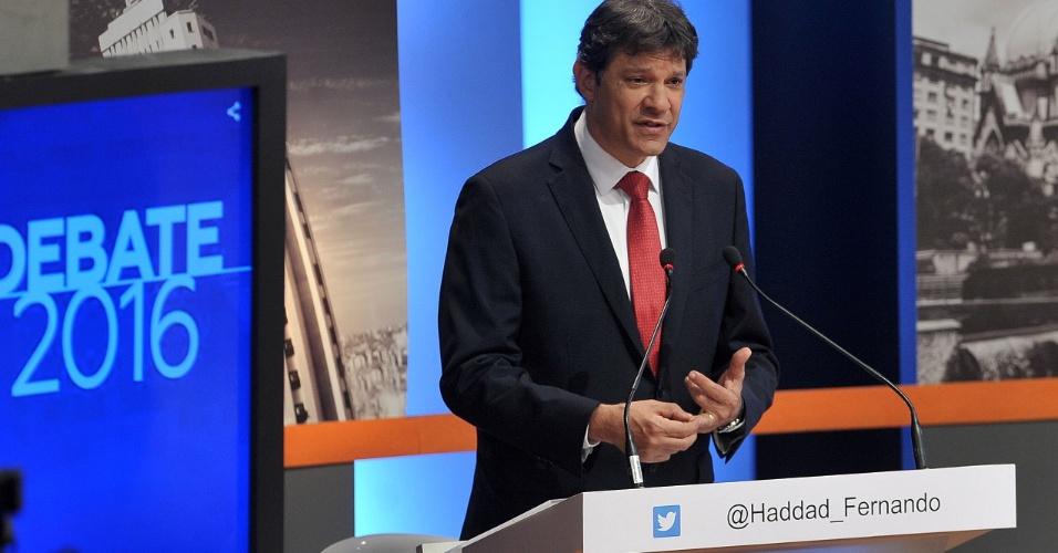 18.set.2016 - Fernando Haddad (PT) participa de debate com candidatos a prefeito em São Paulo promovido pela TV Gazeta, Estadão e Twitter