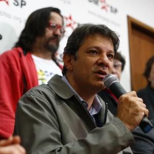 Fernando Haddad durante disputa pela reeleição à Prefeitura de SP, em outubro