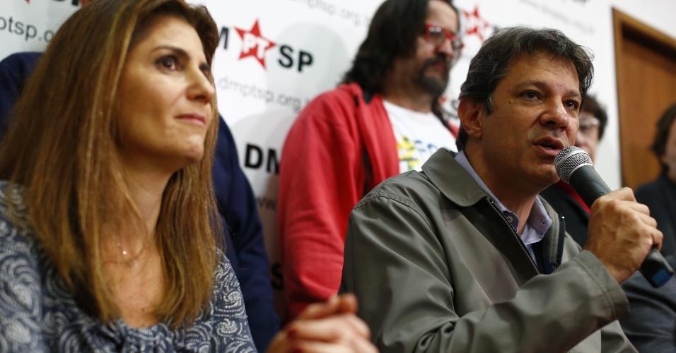 2.out.2016 - O candidato do PT à reeleição em São Paulo, Fernando Haddad, discursa no diretório nacional do PT após João Doria Júnior (PSDB) ser eleito no primeiro turno