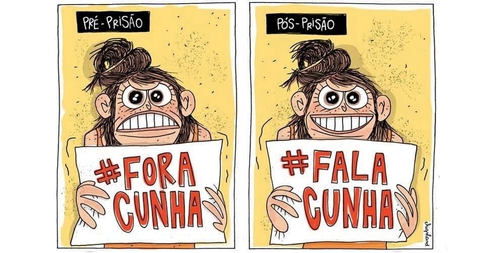 """24.out.2016 - """"Fora, Cunha"""" vira """"Fala, Cunha"""" na torcida pela delação premiada do ex-deputado"""