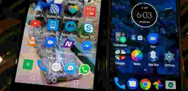 26.fev.2017 - Novo modo de ver lista de aplicativos, mais parecido com a do Android 7.1. Agora você não precisa tocar em um ícone para abrir a lista; basta passar o dedo de baixo para cima na tela - Lilian Ferreira/UOL - Lilian Ferreira/UOL