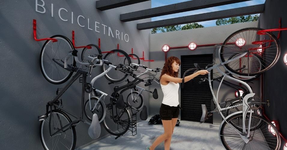 Imagem ilustrativa de bicicletário do prédio da construtora Vitacon, em São Paulo