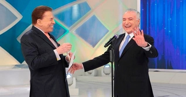 O apresentador Silvio Santos entrevista, em seu programa, o presidente Michel Temer (PMDB)
