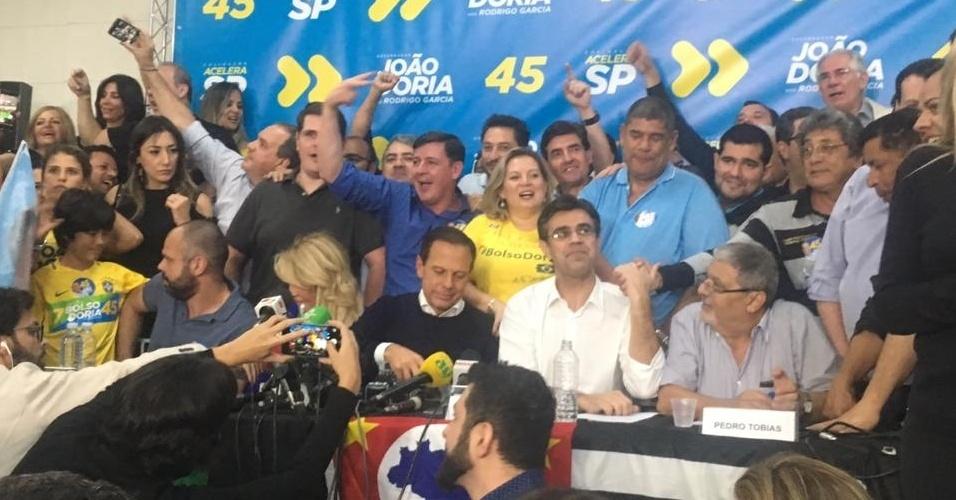28.out.2018 - O governador eleito, João Doria (PSDB), fala pela primeira vez após a confirmação da vitória, em São Paulo