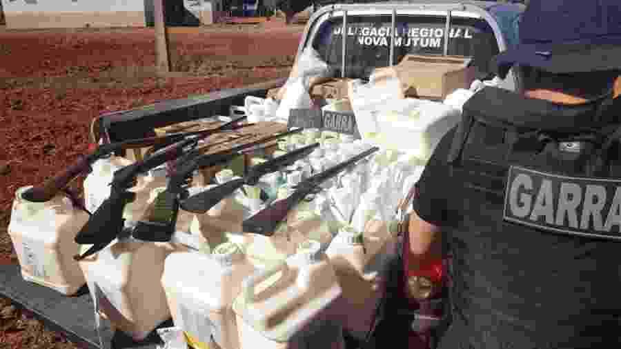 Operação em Nova Mutum (MT) apreendeu agrotóxicos roubados e armas usadas por quadrilha nos assaltos às fazendas - Divulgação