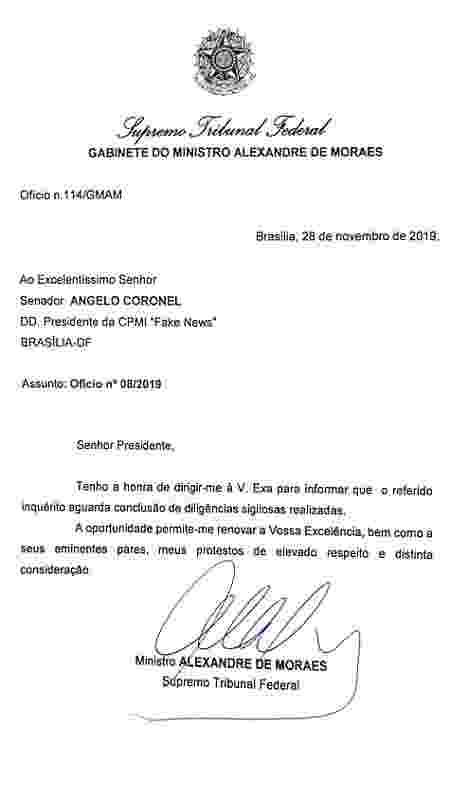 Ofício do ministro do STF Alexandre Moraes enviado ao o senador Angelo Coronel (PSD) - Reprodução - Reprodução