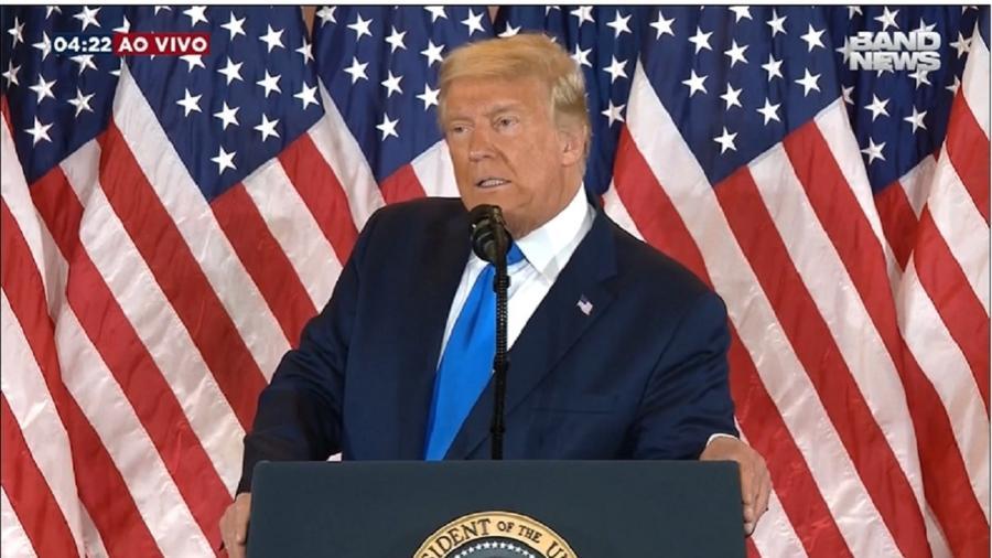 O presidente Donald Trump, em pronunciamento sobre a eleição, na madrugada de quarta-feira (4) - Reprodução/BandNews