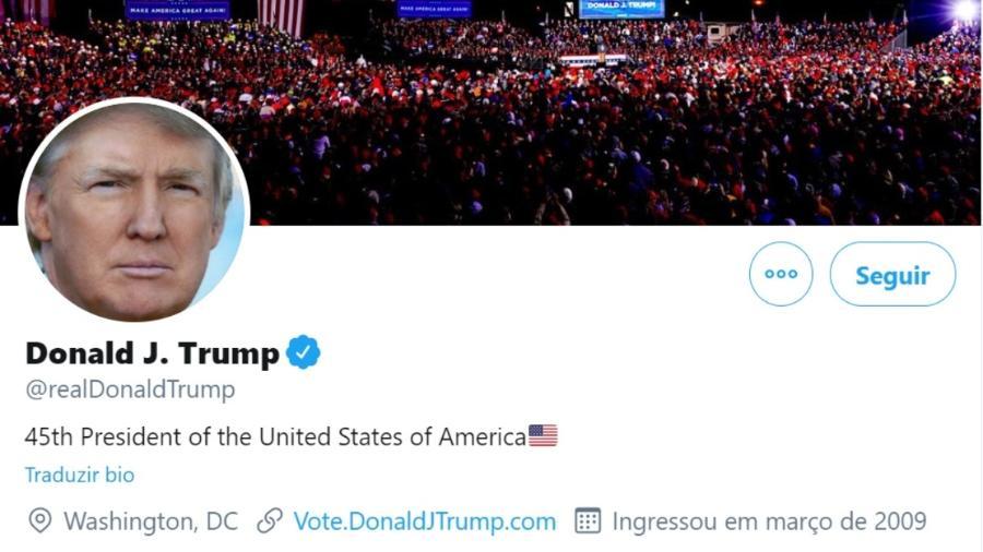 Conta de Donald Trump no Twitter, que foi banida na semana passada - Reprodução