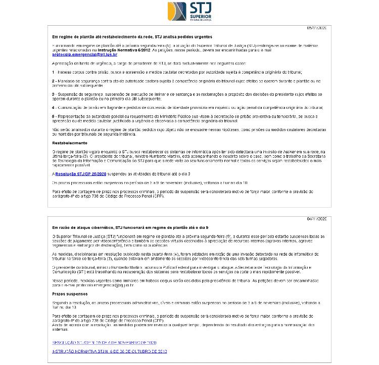 Site do STJ fora do ar - Reprodução/Tilt - Reprodução/Tilt