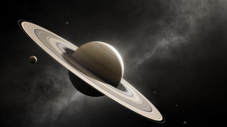 Ilustración de Saturno y sus lunas - NASA - NASA