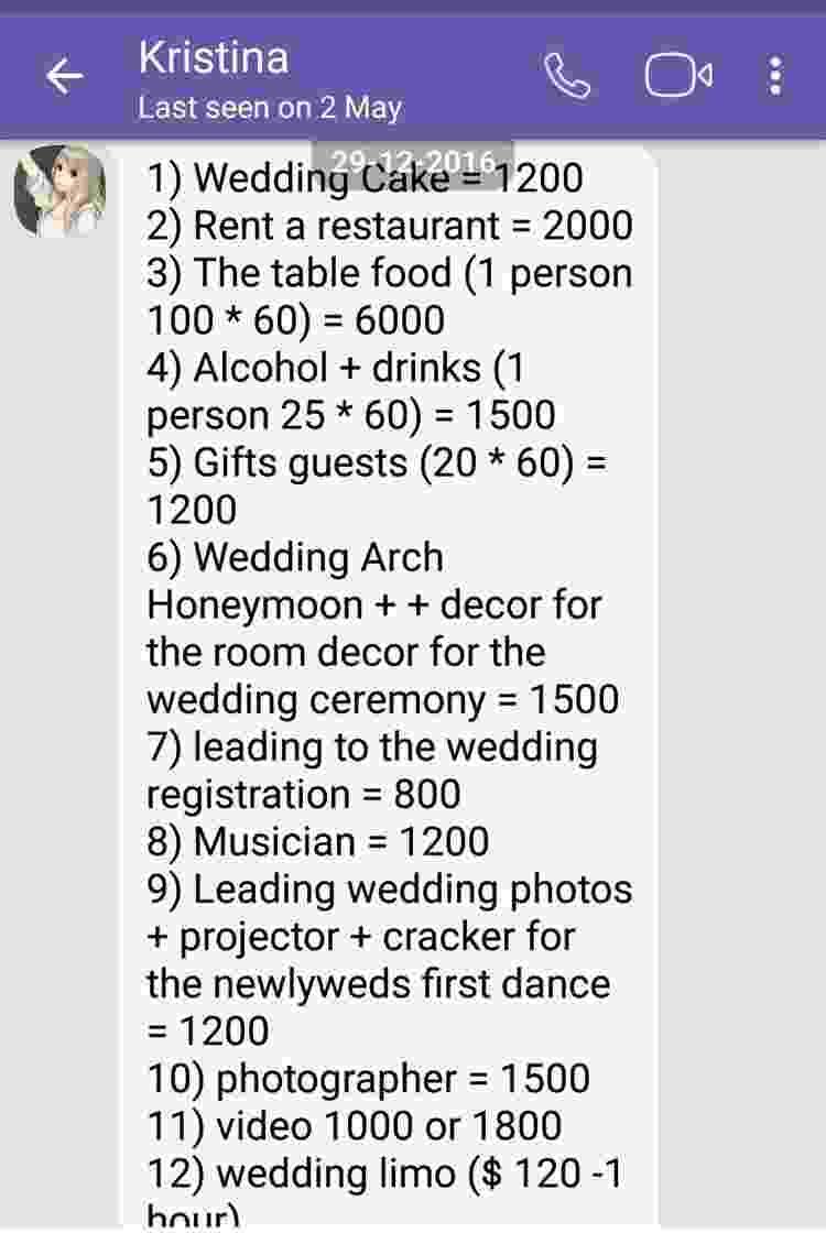 Wedding bill itemised - BBC - BBC