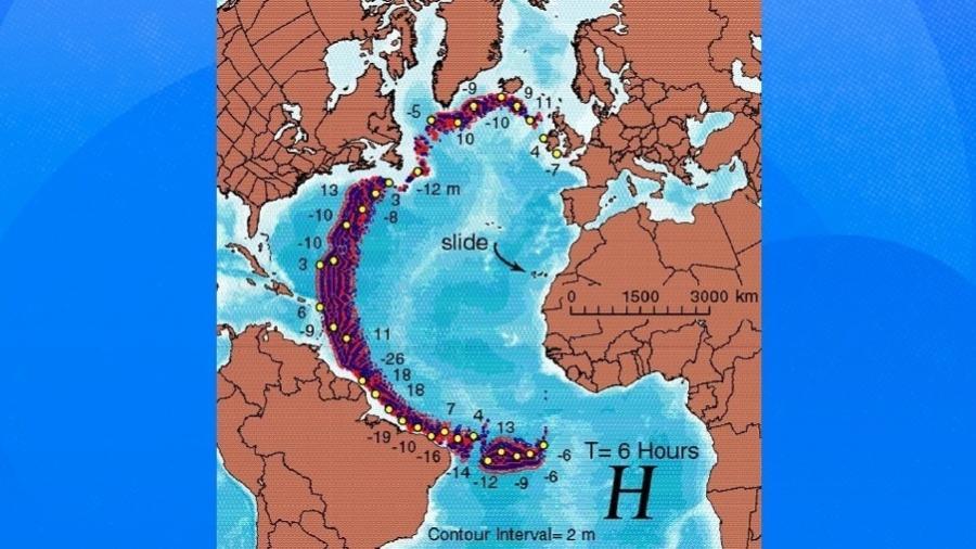 Modelo de estudo mostra possível área de impacto após erupção de vulcão - Reprodução