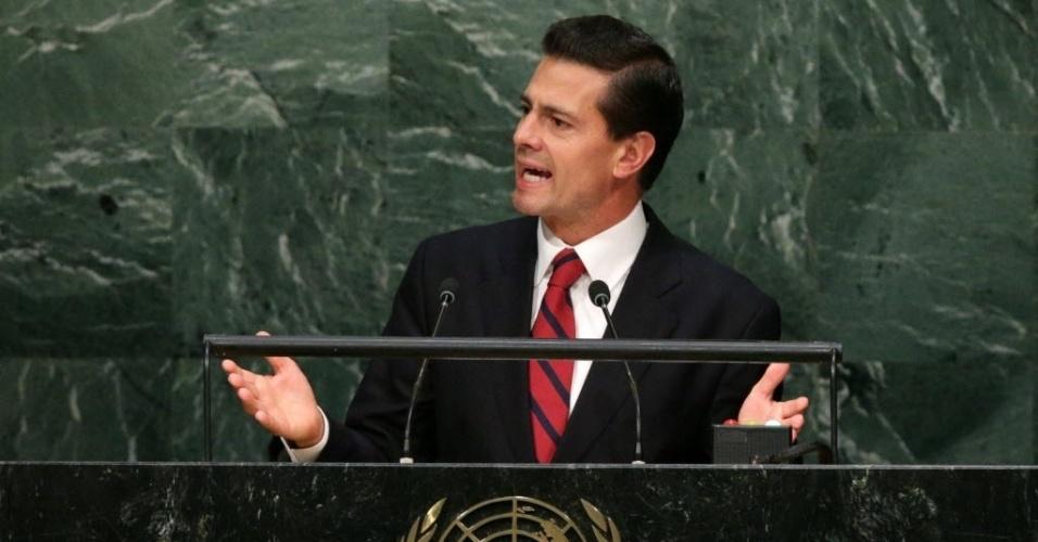 28.set.2015 - O presidente mexicano, Enrique Pena Nieto, discursa na Assembleia Geral das Nações Unidas, realizada em Nova York, nos Estados Unidos. Nieto advertiu que, devido à deterioração das condições socioeconômicas, o mundo enfrenta a