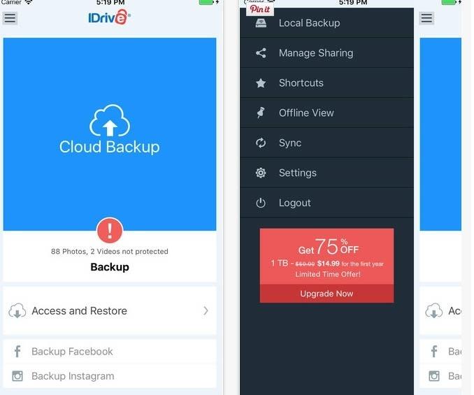 iDrive Online. Para iOS, o aplicativo gratuito cria uma conta e permite realizar um backup dos contatos do iPhone, que podem ser restaurados em outro iPhone