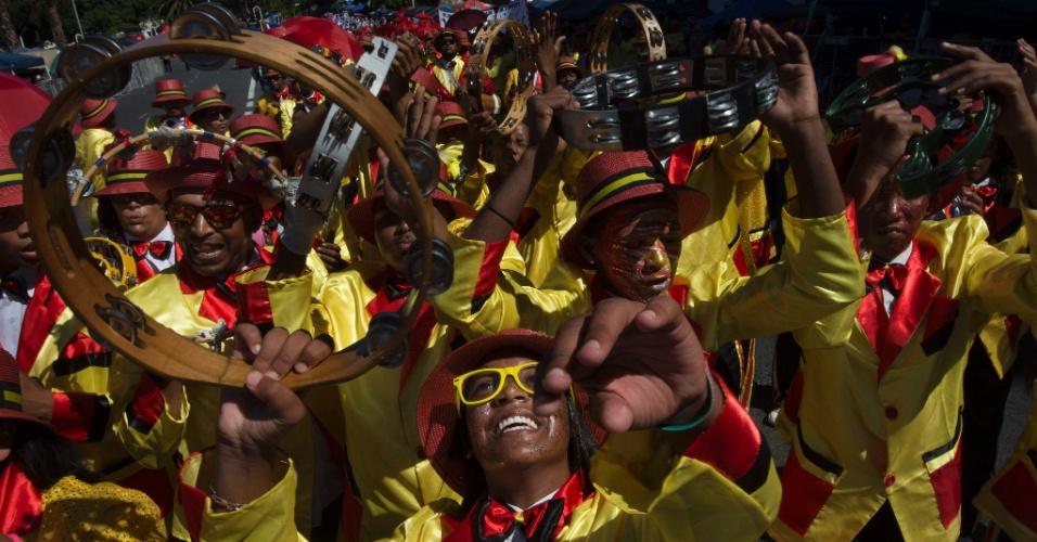 2.jan.2016 - Sul-africanos participam do tradicional Desfile dos Menestréis, na Cidade do Cabo