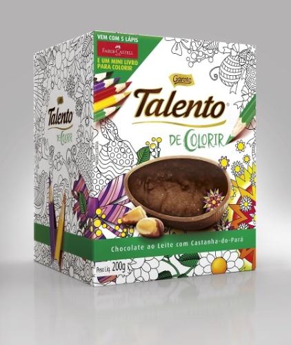 Ovo de Páscoa Talento Colorir, 200g, lançamento da Garoto para a Páscoa 2016. Vem com livro para colorir e lápis de cor. O preço não foi divulgado