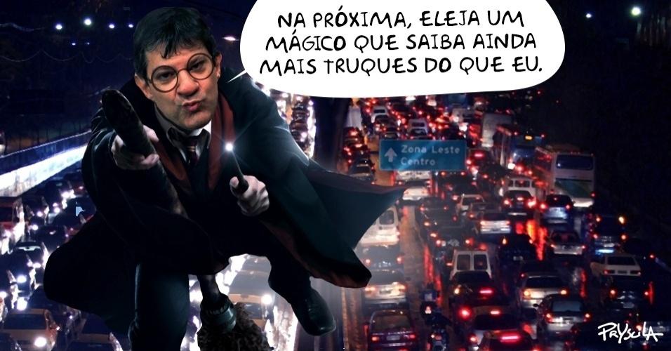 24.jan.2016 - 'É melhor eleger um mágico', diz Haddad sobre passe livre