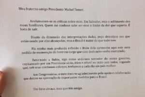 Carta de demissão enviada por Geddel Vieira Lima para o presidente
