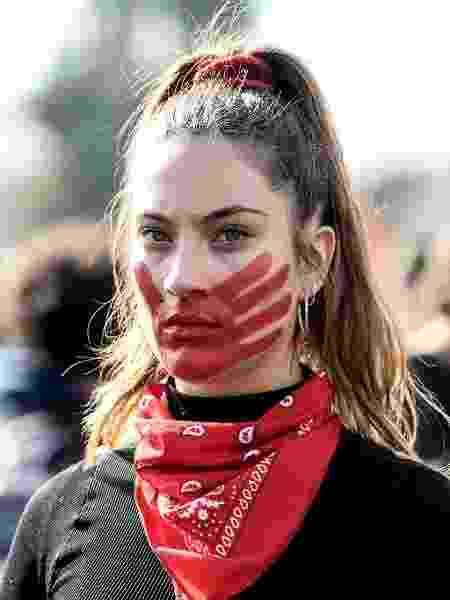 Manifestante participa de marcha feminista no Chile em 2018 - Xinhua/Jorge Villegas - Xinhua/Jorge Villegas