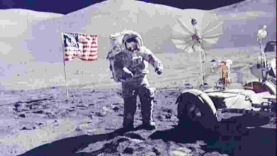 O astronauta Eugene Cernan na missão Apollo 17, a última que levou pessoas à Lua (em 1972) - Reuters/Nasa