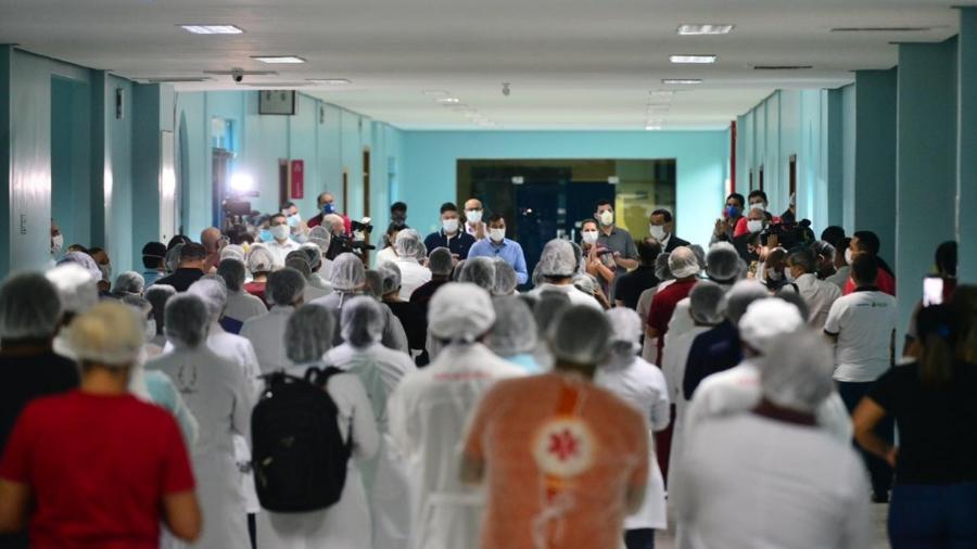 20.abr.2020 - Hospital Nilton Lins, em Manaus, foi inaugurado no sábado (18) - Divulgação/Governo do Amazonas