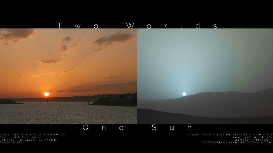 Nasa divulga montagem comparando o por do sol na Terra (esq.) e em Marte - Damia Bouic (esq.); Nasa, JPL-Caltech, MSSS (dir.); processamento digital: Damia Bouic