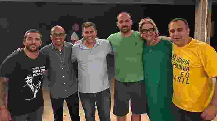 Da esquerda para a direita, o deputado federal Carlos Jordy (PSL), os estaduais Márcio Gualberto (PSL) e Dr. Serginho (Republicanos), Eduardo Bolsonaro (PSL), Rogéria e o deputado estadual Anderson Moraes (PSL) - Reprodução/Instagram - Reprodução/Instagram
