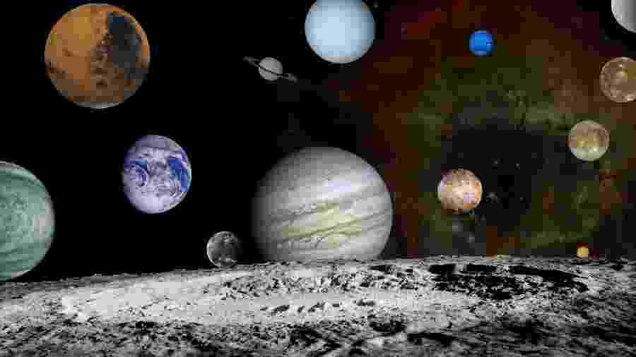 Montagem com imagens feitas pela sonda Voyager dos planetas do Sistema Solar, quatro luas de Júpiter e, em primeiro, a Lua - Nasa