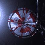 Antes do pousar, o rover liberou um paraquedas supersônico para diminuir a velocidade da descida - Divulgação/Nasa