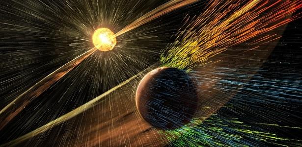 Arte mostra tempestade solar batendo em Marte e eliminando íons da atmosfera