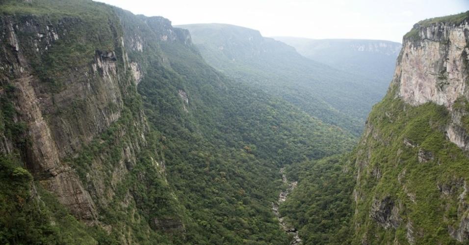 Vista panorâmica do vale do igarapé Preto, por onde corre a água que despenca da cachoeira do Eldorado. Apesar de ser decretado Parque Estadual, a Serra do Aracá não possui qualquer infraestrutura e permanece preservada graças à sua localização remota no Norte do Estado do Amazonas