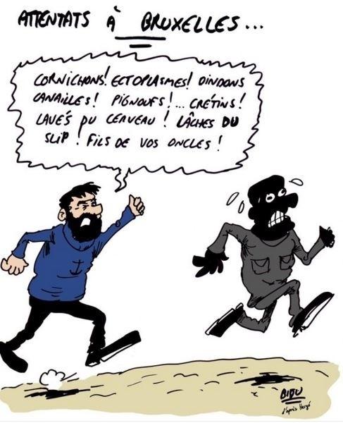 22.mar.2016 - O cartunista francês Bidu divulgou uma série de charges sobre o ataque terrorista desta terça-feira na Bélgica. Neste, o capitão Haddock, dos quadrinhos do Tintim, demonstra o ódio com diversos xingamentos